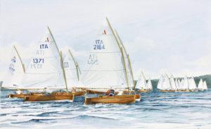 Ship portraits - Regata sul lago di Bracciano - acquerello