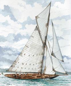"""Ship portraits - Yacht """"Pen Duick"""" - acquerello"""