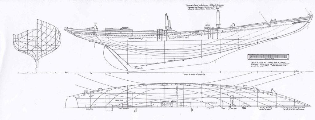 """Piano di costruzione di goletta da pesca americana """"Elen B. Thomas"""" del 1902"""