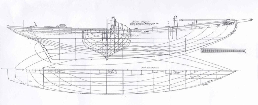 """Goletta da pesca """"Ingomar"""" del 1904 - piano di costruzione"""