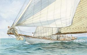"Ship portraits - Yacht ""Tuiga"" - acquerello"
