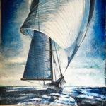 """Eugenio Giaccone - Quadro intitolato """"Les voiles"""" Dimensioni cm. 70x70"""
