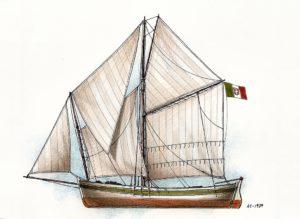 disegni di barche - navicello della riviera di levante
