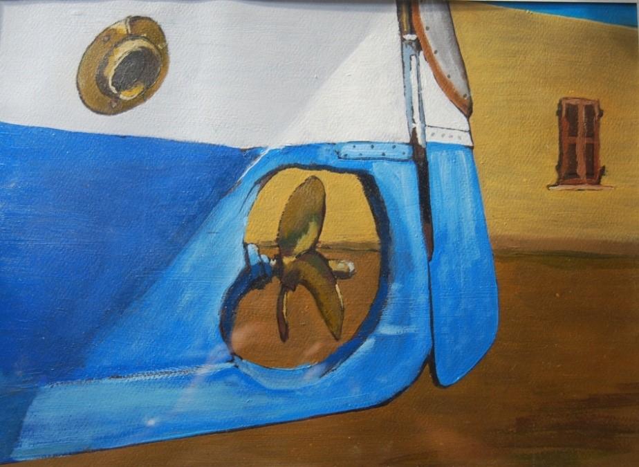 Paesaggi marini - Barca di poppa – olio su cartoncino telato 40x30 di Aldo Mingozzi