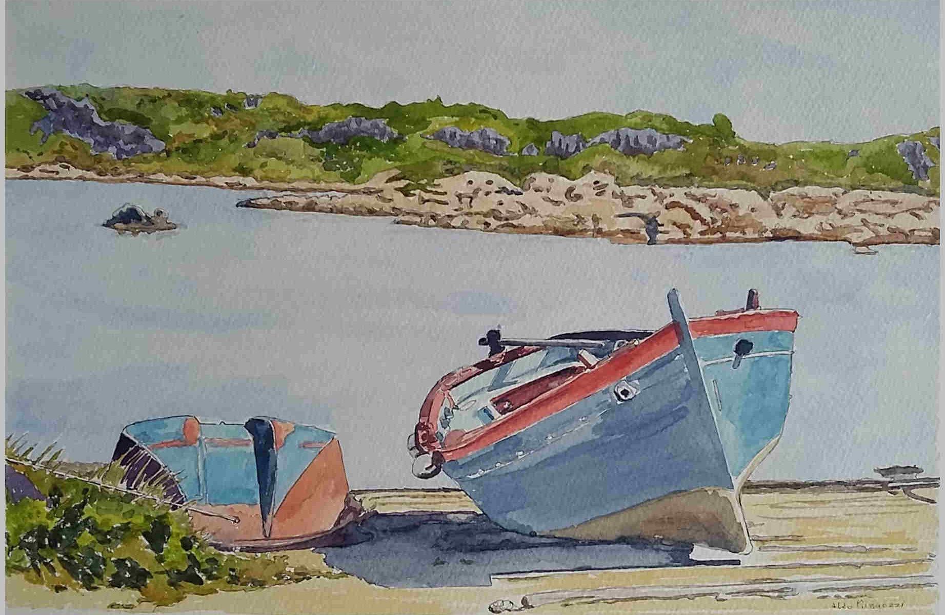 Paesaggi marini- Barche a Stagnali – aquerello su cartoncino 31x21 di Aldo Mingozzi