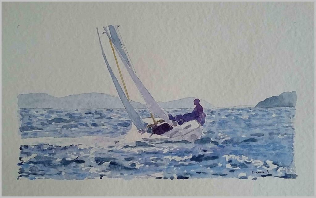 Paesaggi marini - Bolina controluce – acquerello su cartoncino 36x26 di Aldo Mingozzi