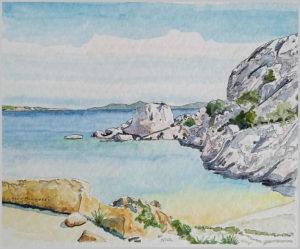 Paesaggi marini - Cala Martinella – acquerello su cartoncino 21x17 di Aldo Mingozzi