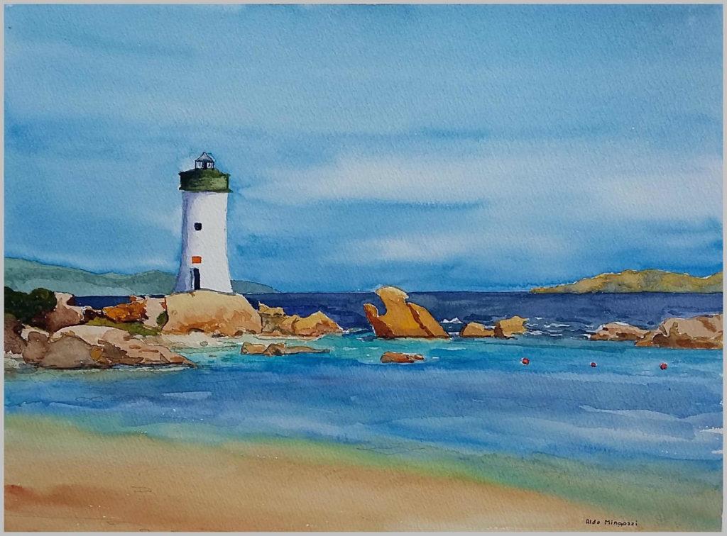 Paesaggi marini - Il faro di Palau d'inverno – acquerello su cartoncino 36x27 di Aldo Mingozzi