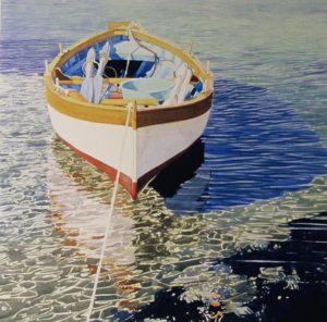 """Enza Viceconte - Acquerelle dal titolo """"Barca in posa"""" delle dimensioni di cm. 50x50"""