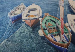 """Enza Viceconte - Acquerello intitolato """"Barche"""""""