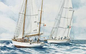 Ship portraits - acquerello raffigurante i velieri Caroly e Stella Polare