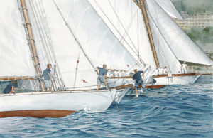 Ship portraits - Ritratto degli yacths Nan e Avel in regata - acquerello