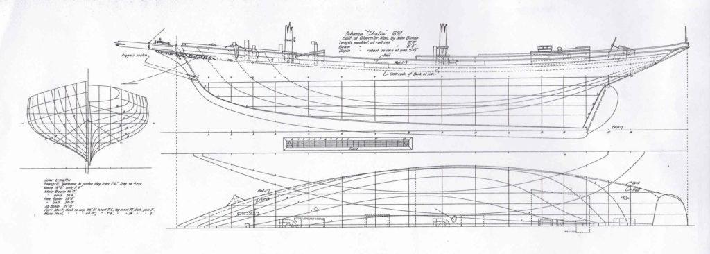 """Piano di cosreuzione della goletta da pesca """"Thalia"""" del 1892"""