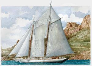 Ship portraits - Ritratto della replica della goletta America - acquerello