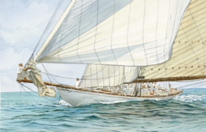 "Ship portraits - Yacht ""Tuiga"" - acquerello"