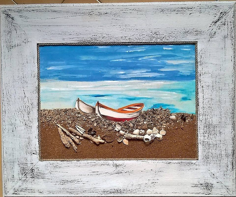 """Teresa Grotteria - Dipinto intitolato """"Barche a secco"""""""