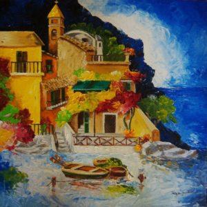 """Teresa Grotteria - dipinto denominato """"barche ancorate"""""""
