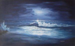 Dipinti di mare - quadro intitolato Albori di luna - autore Nicola Sciotto