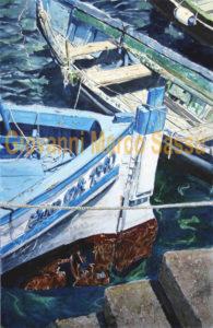 Quadri di barche - All'imbarcadero - Acquarello puro su carta - 38x57 cm - Autore Giovanni Marco Sassu