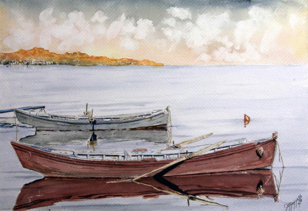 Quadri di barche - Buon mattino - Acquarello su carta - 56x37 cm - Autore Giovanni Marco Sassu