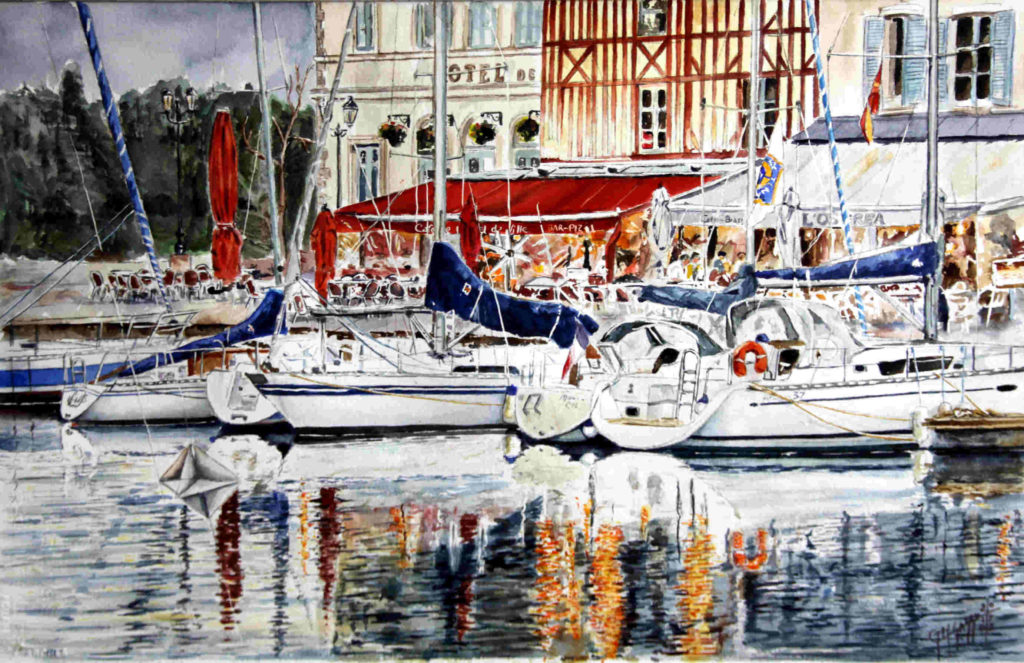 Quadri di barche - Honfleur - Ormeggi lungo Quai Saint Etienne - Acquarello puro su carta - 57 x 38 cm - Autore Giovanni Marco Sassu
