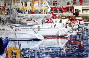 Quadri di barche - Honfleur, il vecchio bacino - Acquarello puro su carta - 58x36 cm - Autore Giovanni Marco Sassu
