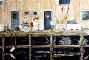 Quadri di barche - Honningsvåg (Capo Nord) - Il pontile dei pescatori di granchi una notte d'estate - Acquarello su carta - 54 x 39 cm - Autore Giovanni Marco Sassu