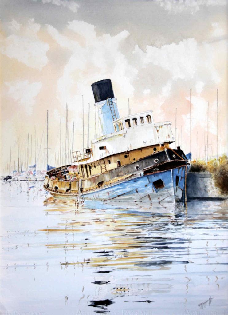 Quadri di barche - Il Bitti, in attesa oltre il canale - Acquarello puro su carta - 56 x 76 cm - Autore Giovanni Marco Sassu