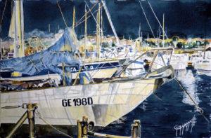 """Quadri di barche -""""Nora"""" & """"Otium"""" la sera - Acquarello puro su carta - 56 x 37 cm - Autore Giovanni Marco Sassu"""