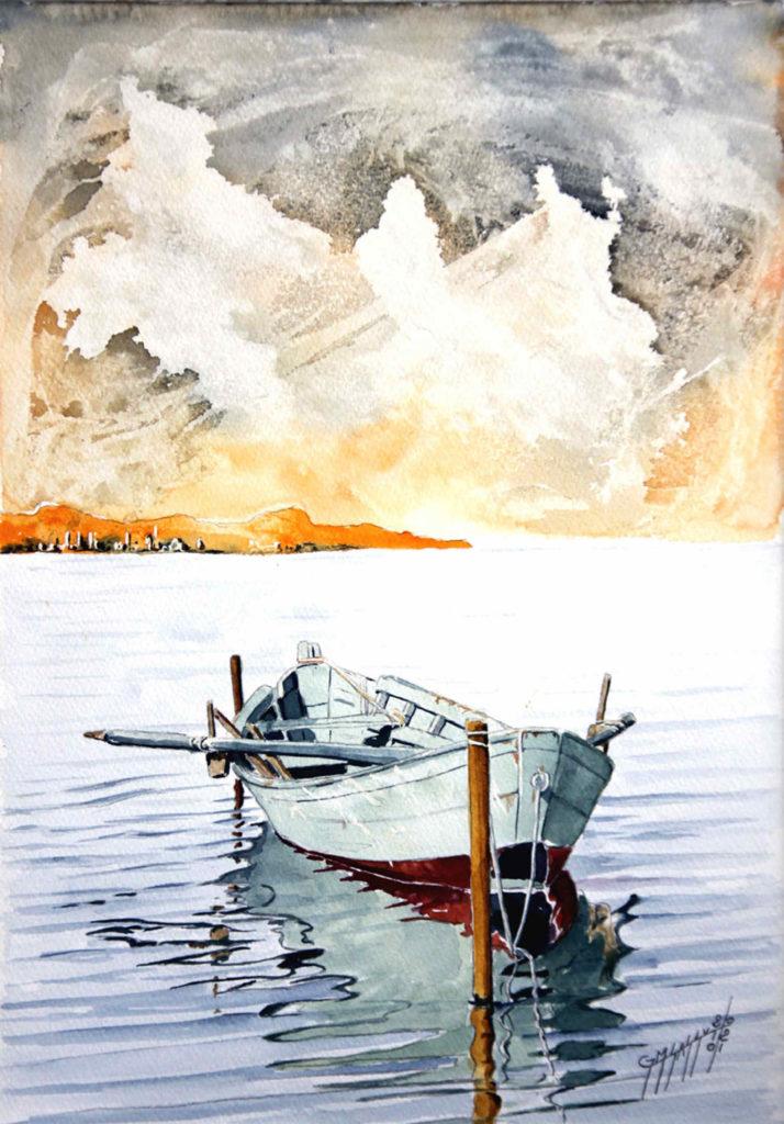 Quadri di barche - Nuvole - Acquarello puro su carta - 300gr/mq - 28x37 cm - Autore Giovanni Marco Sassu