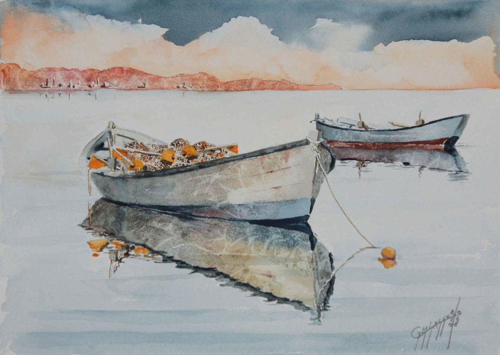 Quadri di barche - Orze - Acquarello puro su carta Arches 300gr/mq -37 x 27cm - Autore Giovanni Marco Sassu