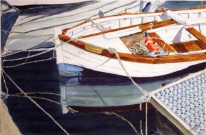 """Quadri di barche - Piccola lancia """"Alghero"""" - Acquarello puro su carta - 56 x 37 cm - Autore Giovanni Marco Sassu"""