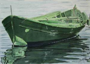 Quadri di barche - Riflessi verdi - Acquarello puro su carta - 38x27 cm - Autore Giovanni Marco Sassu