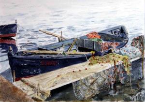 Quadri di barche - Riprendiamo dopo pranzo - Acquarello puro su carta -37 x 28 cm - Autore Giovanni Marco Sassu