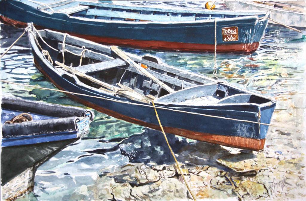 Quadri di barche - Tobia - acquarello puro su carta - 57 x 38 cm. - Autore Giovanni Marco Sassu