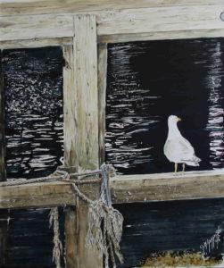 Quadri di barche - Una mattina a Honningsvåg - Acquarello puro su carta - 38 x 42 cm - Autore Giovanni Marco Sassu