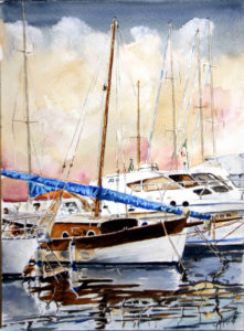 """Quadri di barche - Una mattina a """"Su Siccu"""" – Acquarello puro su carta - 28x38 cm - autore Giovanni Marco Sassu"""