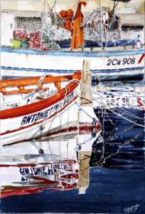 """Quadri di barche - M/b """"Antonietta""""- acquarello puro su carta - 37 x 56 cm. - Autore Giovanni Marco Sassu"""