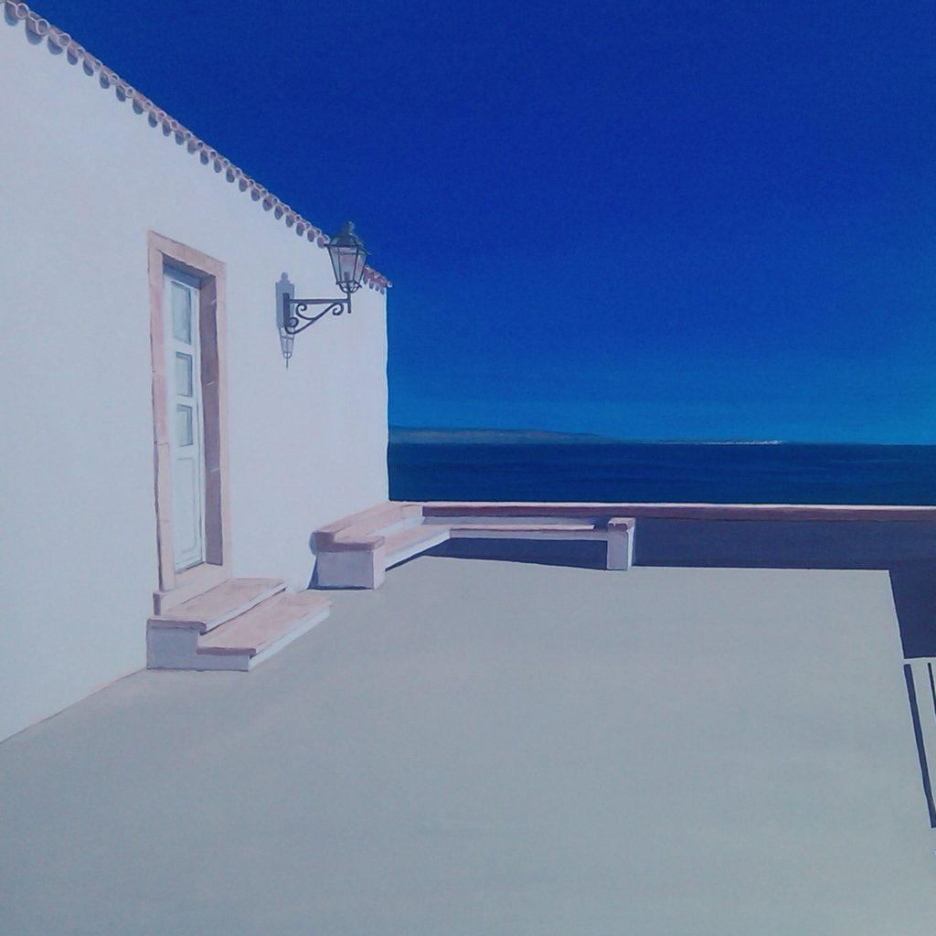 Spiagge della Sardegna - quadro intitolato Carloforte 2016 - 60x60 acrilico su tela - autrice Chiara Pruna