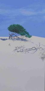 Spiagge della Sardegna - quadro intitolato Ginepri e scheletri 2017- 100x50 acrilico su tela - autrice Chiara Pruna
