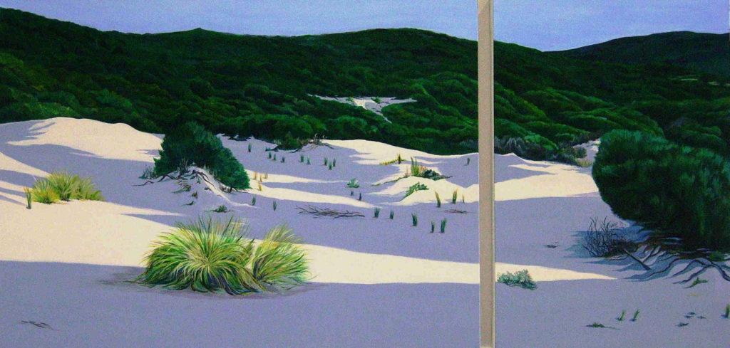 Spiagge della Sardegna - quadro intitolato Dietro lo steccato 2012-60x120 dittico acrilico su tela - autrice Chiara Pruna