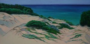 Spiagge della Sardegna - quadro intitolato oltre le dune...il mare-2011-60x120 - autrice Chiara Pruna