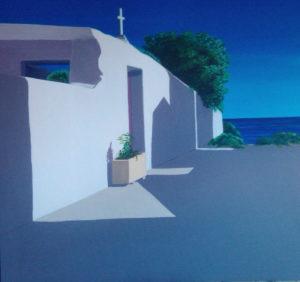 Spiagge della Sardegna - quadro intitolato Portoscuso-2016- 60x60 - autrice Chiara Pruna