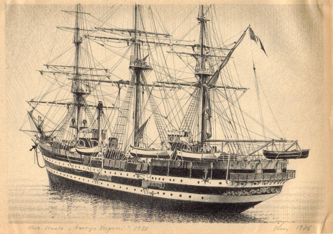 disegno di nave Amerigo Vespucci - velieri di lungo corso