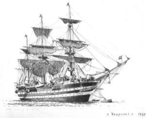 disegno della nave Vespucci - velieri di lungo corso