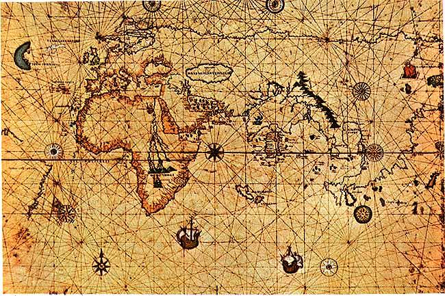 Antica carta nautica - rose dei venti
