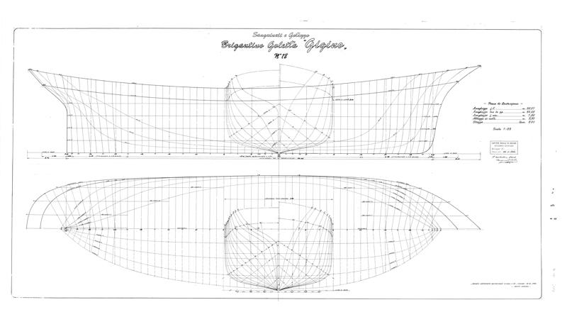 piano di costruzione del brigantino goletta Gigino - velieri di lungo corso