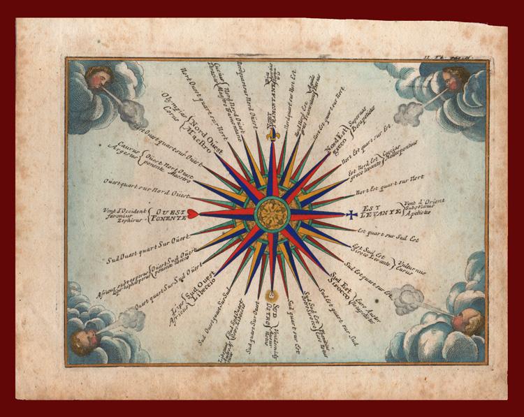 Una antica stampa di rosa dei venti - rose dei venti