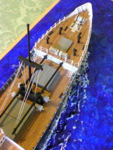particolare del modello motonave Rubicone - diorama
