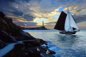 Dipinto n.10(100x150 olio su tela 2018) - paesaggi costieri